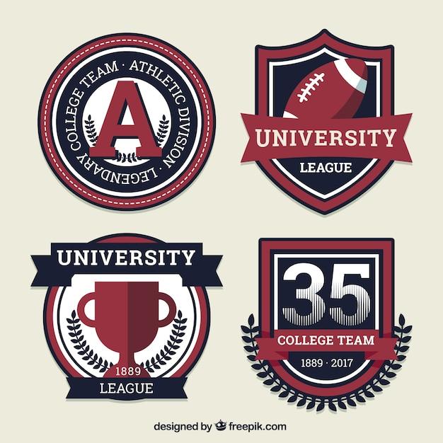 Escudos esportivos para equipes de estudantes Vetor grátis