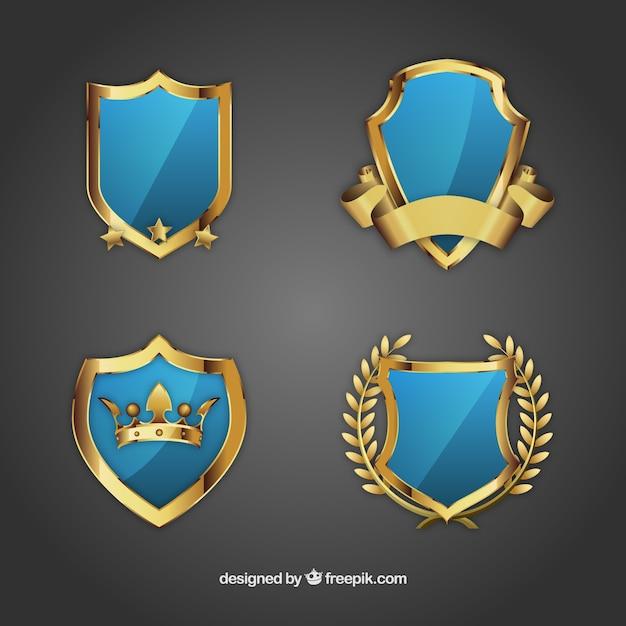 Escudos ornamentais Vetor Premium