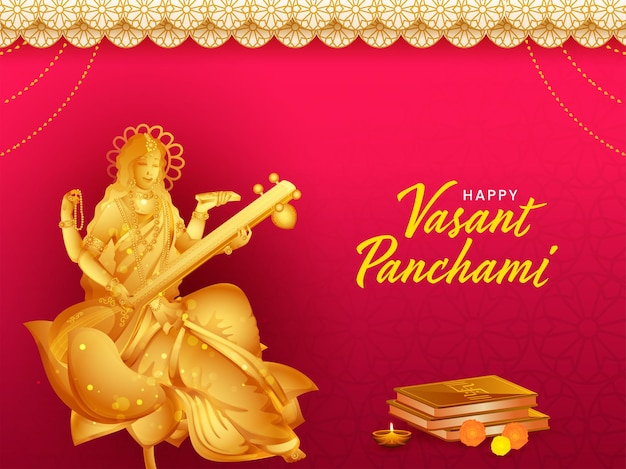 Escultura de ouro da deusa saraswati com livros sagrados para feliz vasant panchami. Vetor Premium
