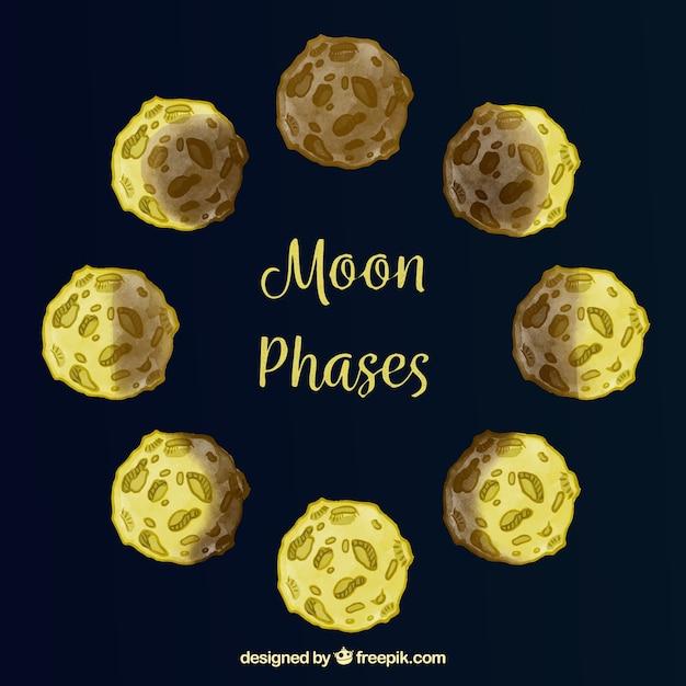 Escuro, azul, fundo, lua, fases Vetor grátis