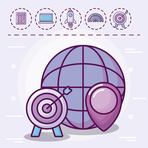 Esfera com alvo e conjunto de ícones Vetor grátis