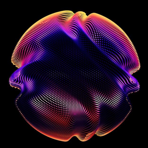 Esfera de malha colorida de vetor abstrato no escuro Vetor grátis