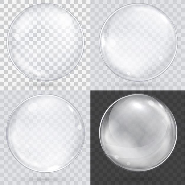 Esfera de vidro transparente branco em um xadrez Vetor Premium