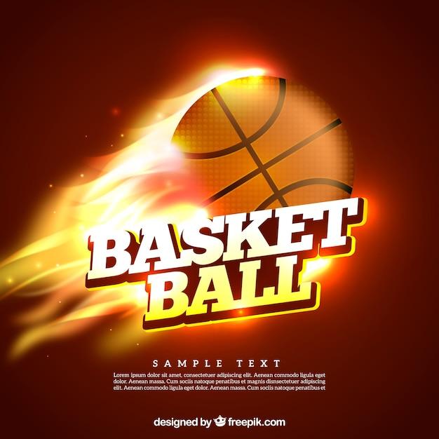Esfera do basquetebol no fundo chamas Vetor grátis