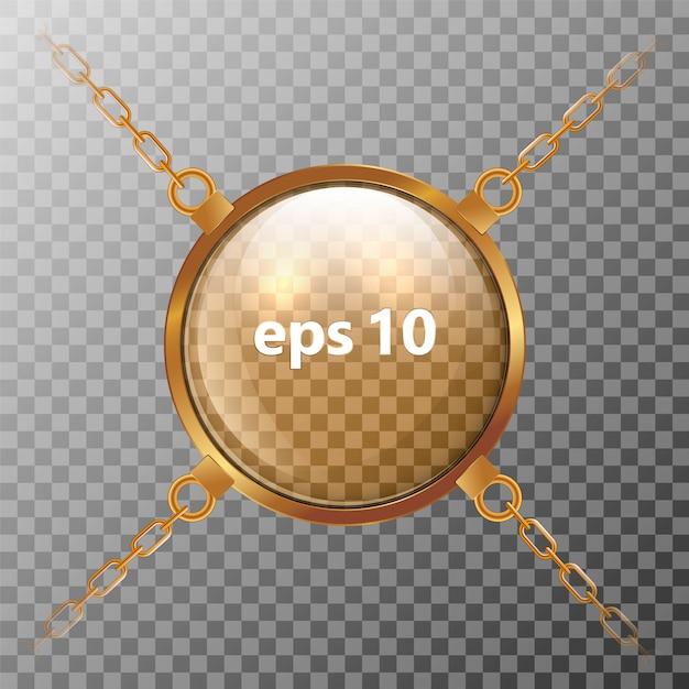 Esfera transparente de vidro que pendura em correntes douradas. Vetor Premium