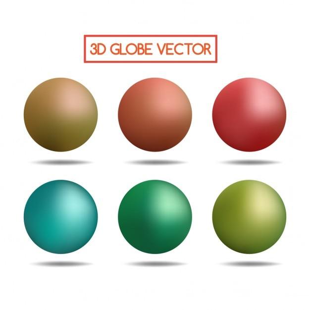 Esferas 3d coloridas Vetor grátis