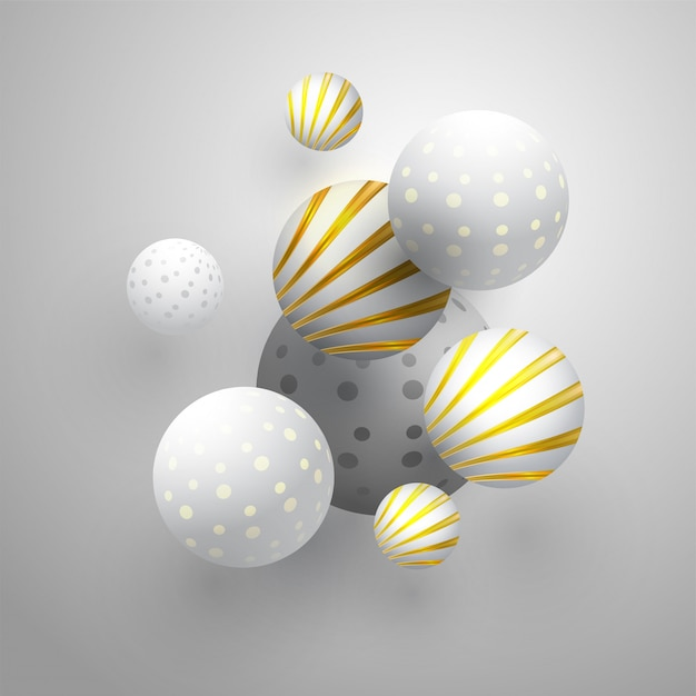 Esferas abstratas no fundo cinza Vetor Premium