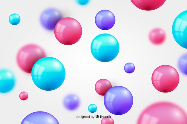 Esferas brilhantes fluindo fundo realista Vetor grátis