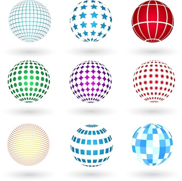 Esferas com vários desenhos Vetor grátis