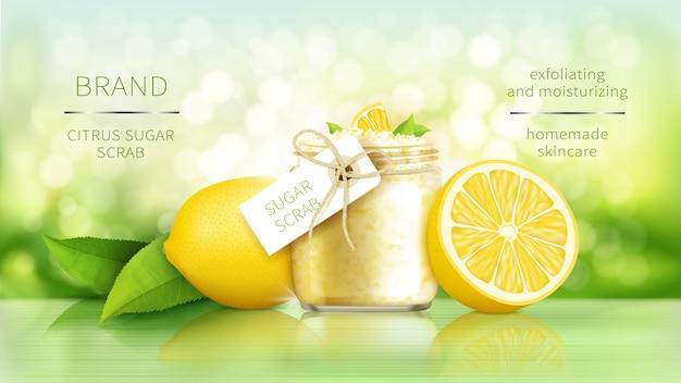 Esfoliante de açúcar com limão, cosméticos para pele lisa, cartaz de anúncios realistas Vetor grátis