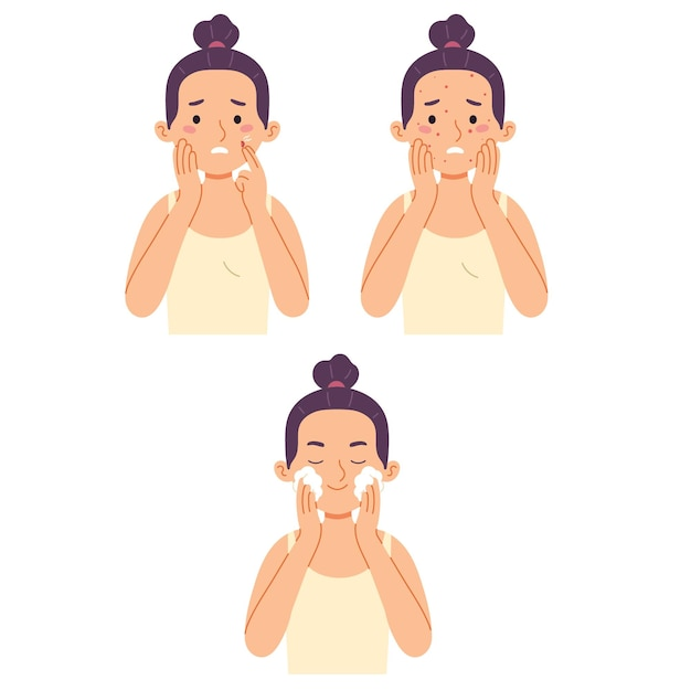 Esfoliante de limpeza facial de mulher com acne Vetor grátis