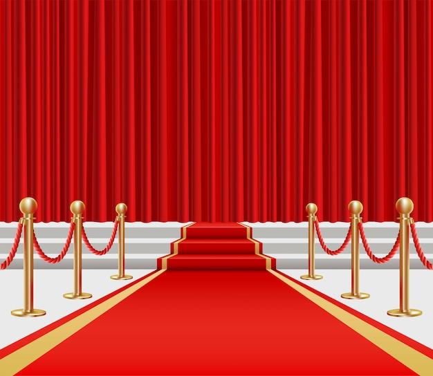 Esgrima dourada e tapete vermelho com um aumento no palco. Vetor Premium