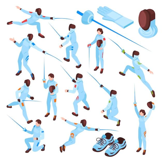 Esgrima esporte conjunto isométrico Vetor grátis