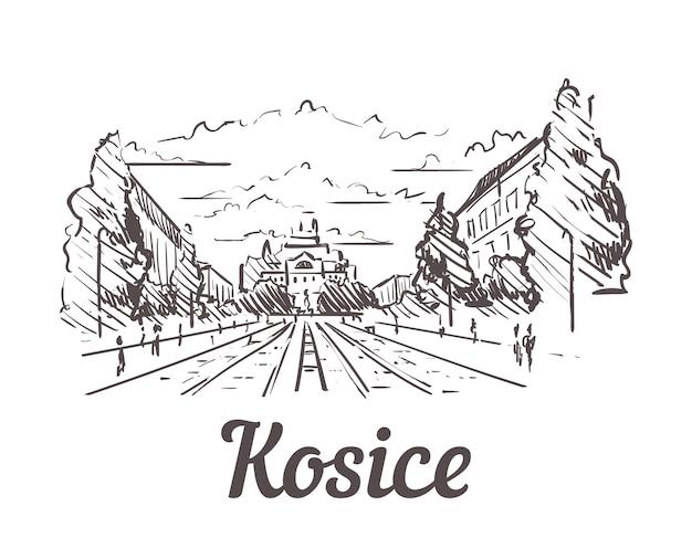 Eslováquia, paisagem desenhada à mão de kosice Vetor Premium