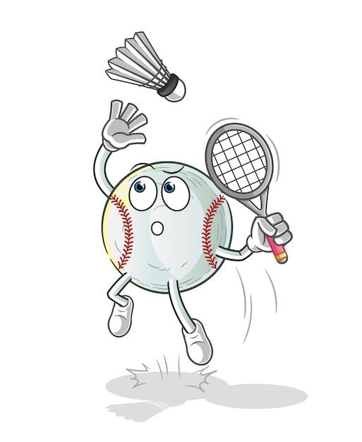 Esmagamento de beisebol em ilustração de desenho animado de badminton Vetor Premium
