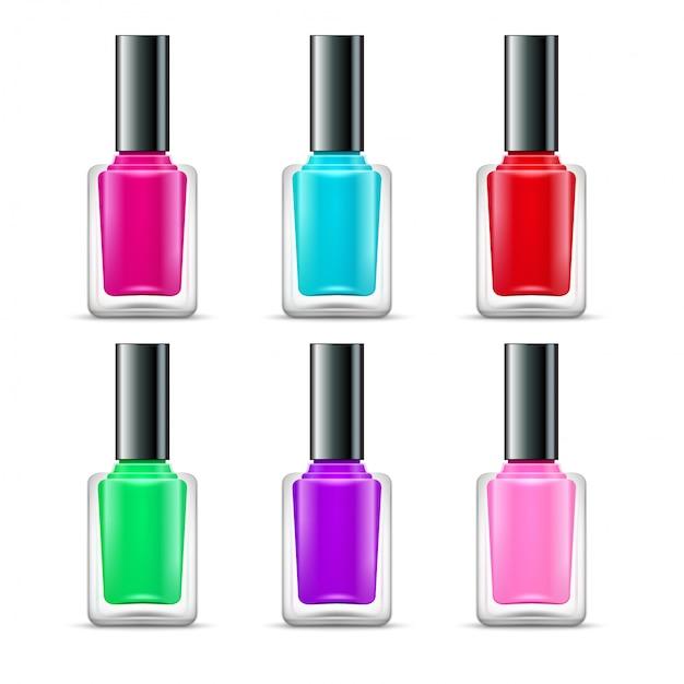 Esmalte isolado garrafas de vidro cores Vetor Premium