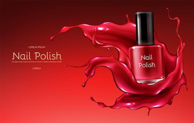 Esmalte vermelho banner de publicidade 3d vector realista com garrafa de vidro em brilhante Vetor grátis