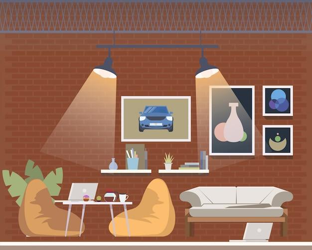 Espaço aberto de coworking, projeto de interiores acolhedor do escritório Vetor Premium