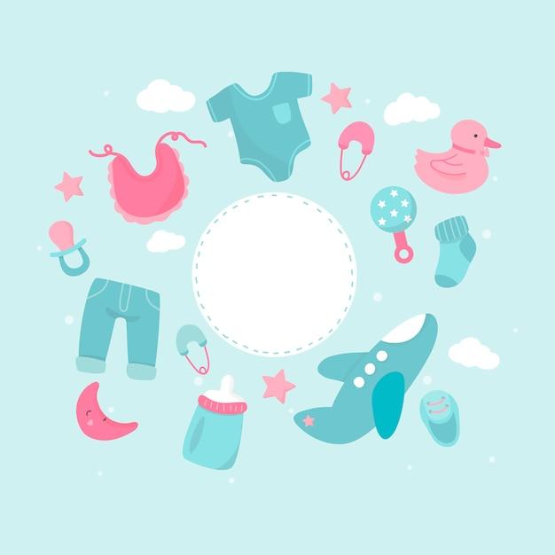 Espaço de cópia de tema de chuveiro de bebê Vetor grátis