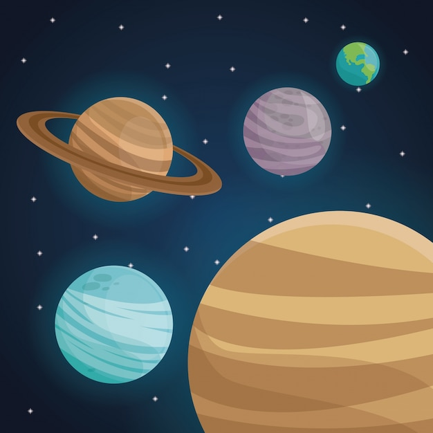 Populares Espaço de cores paisagem de fundo com vista planetas no sistema  ZS84