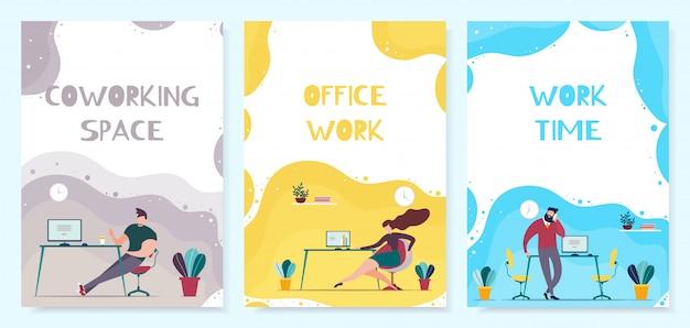 Espaço de coworking e office time management mobile cover set Vetor Premium