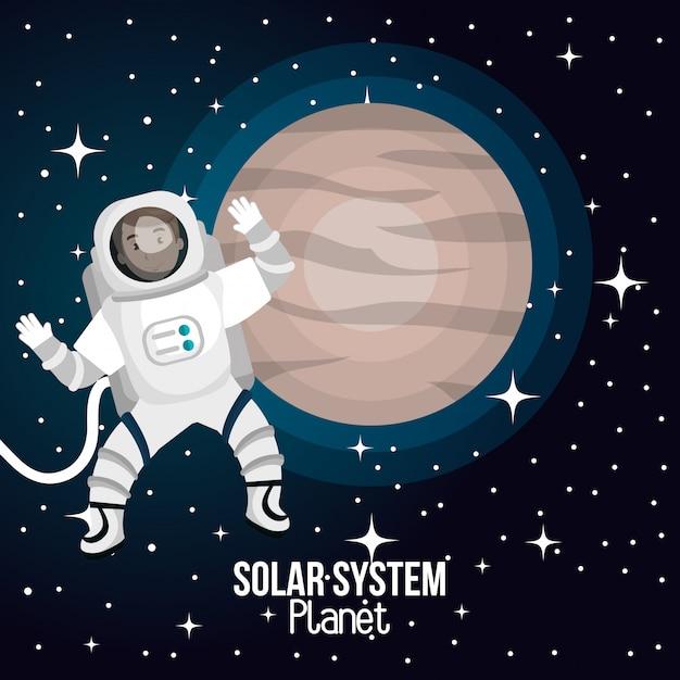 Espaço de desenhos animados de astronauta isolado Vetor Premium