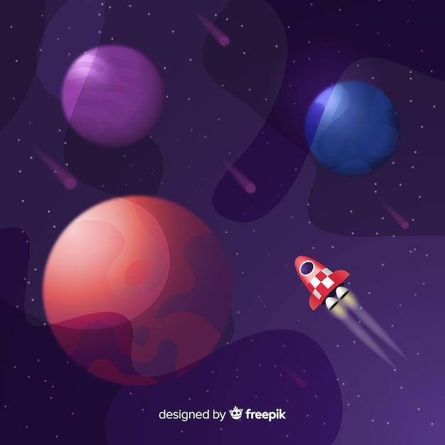 Espaço de gradiente com um foguete Vetor grátis
