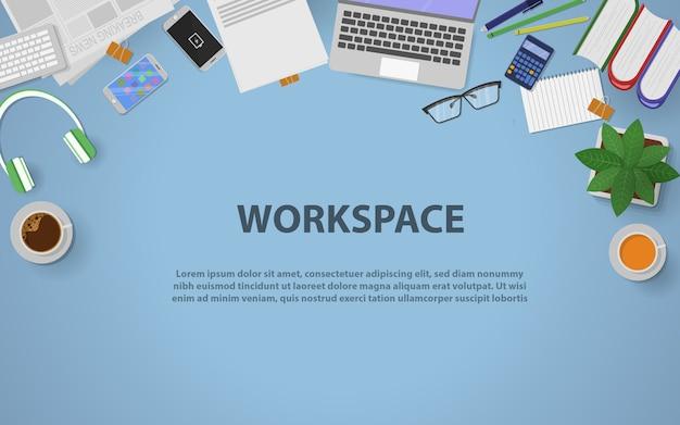 Espaço de trabalho da vista superior para negócios Vetor Premium