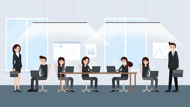 Espaço de trabalho moderno escritório co-working Vetor Premium