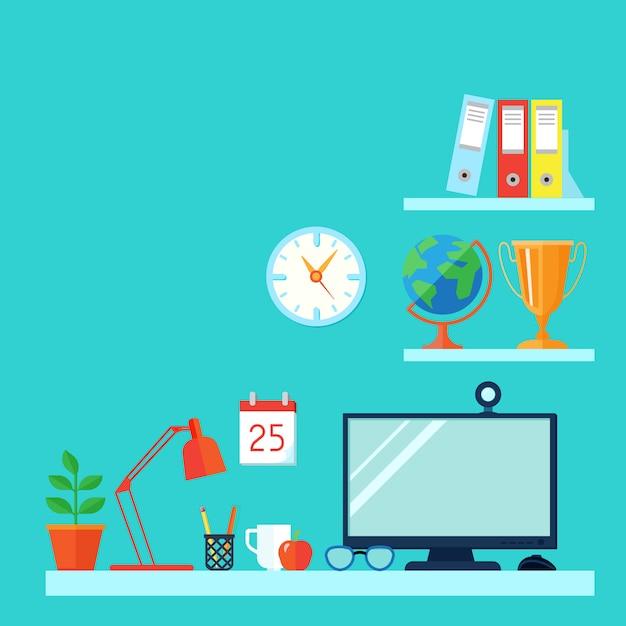Espaço de trabalho na sala com computador de mesa Vetor grátis