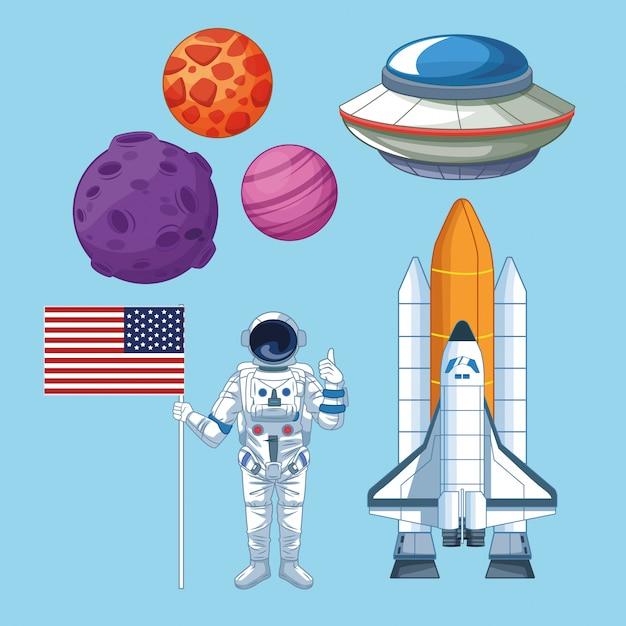 Espaço e astronauta conjunto de ícones Vetor Premium