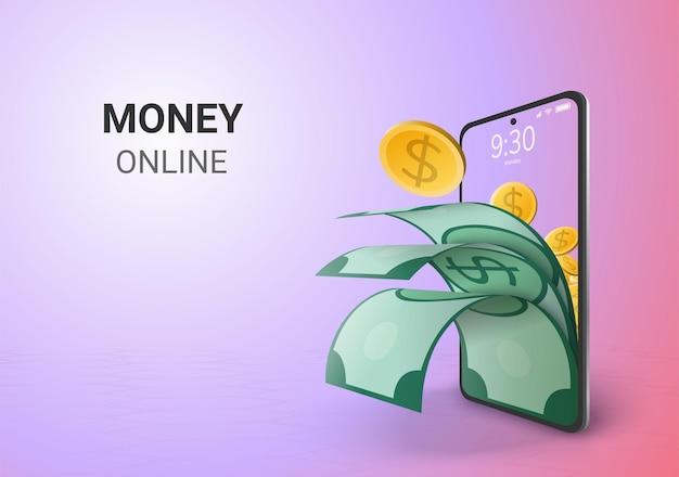 Espaço em branco do conceito de poupança ou depósito de dinheiro digital online no telefone Vetor grátis