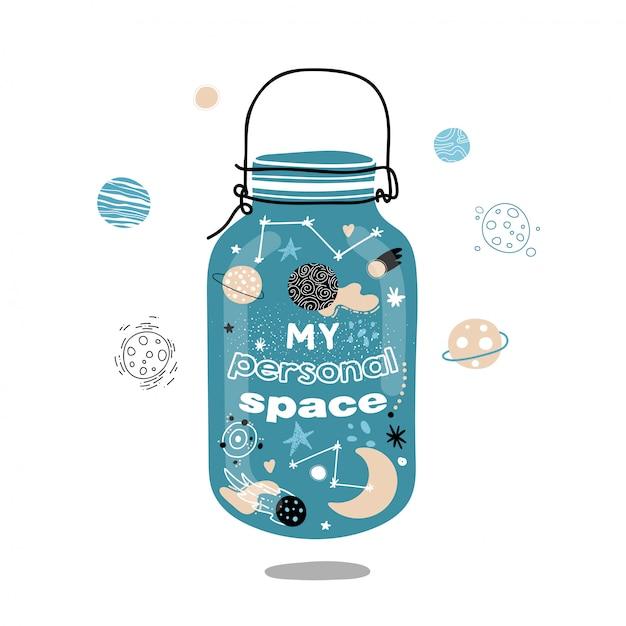 Espaço em um frasco de vidro. meu espaço pessoal. Vetor Premium