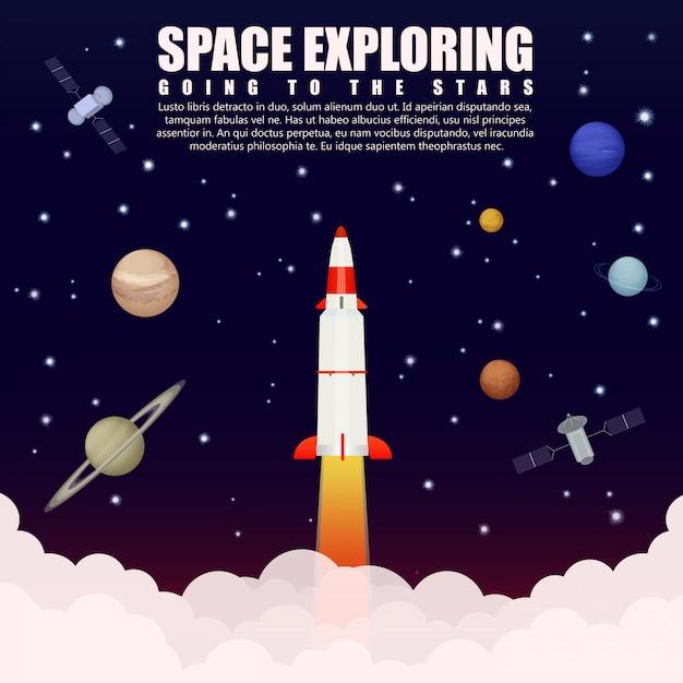 Espaço explorando pesquisa. lançamento do foguete Vetor Premium