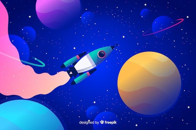Espaço gradiente colorido com um fundo de foguete Vetor grátis