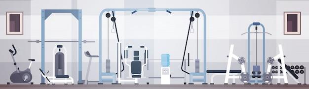 Espaço interior da cópia do equipamento do exercício do gym do esporte Vetor Premium