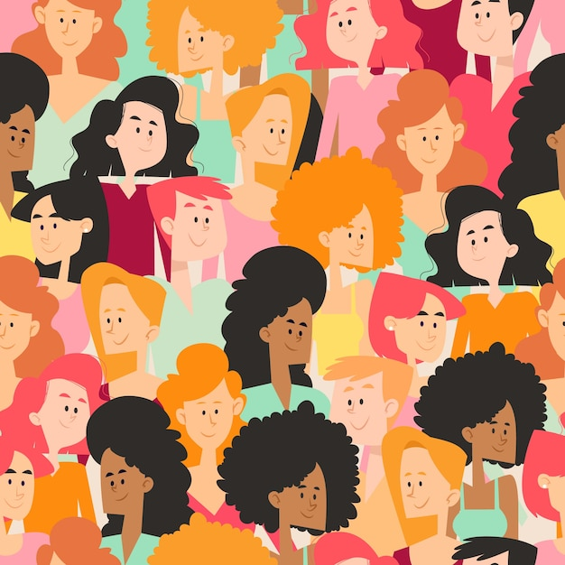 Espaço lotado com rostos de mulheres individuais Vetor grátis