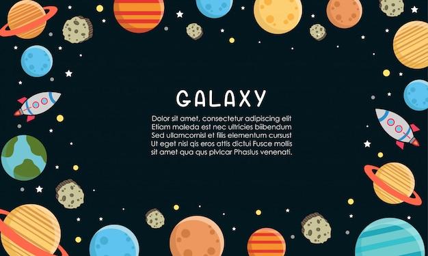 Espaço padrão de constelação de galáxia impressão poderia ser usado para têxteis, com planetas definir ilustração Vetor Premium