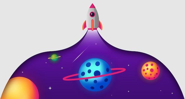 Espaço papel cortado foguete ilustração fundo Vetor Premium