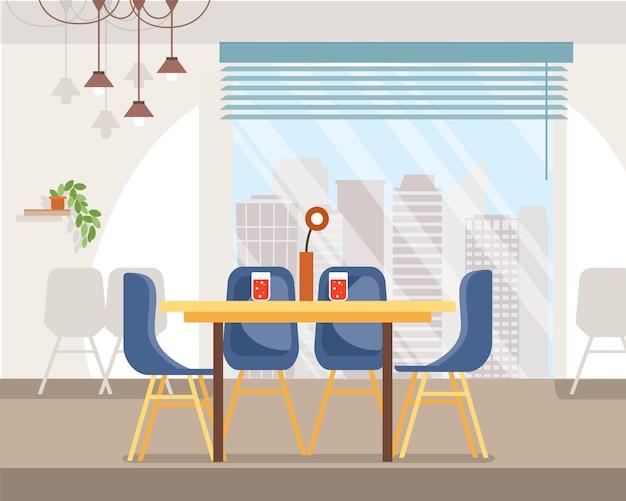 Espaçoso cafe interior flat Vetor Premium