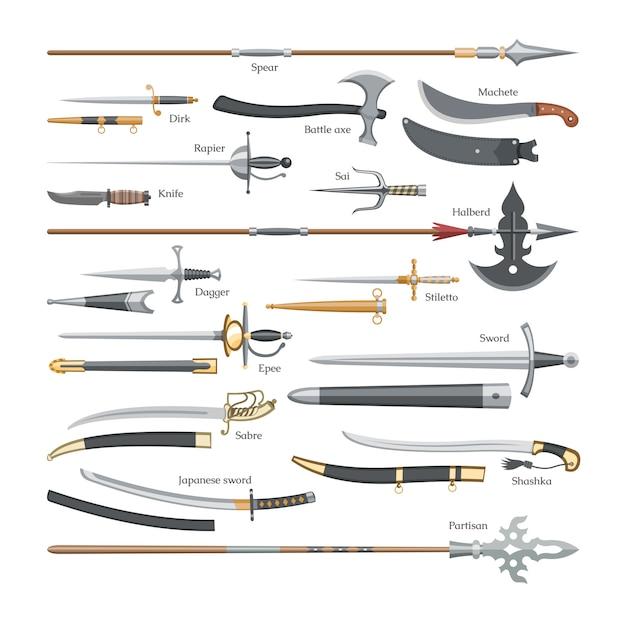 Espada arma medieval de cavaleiro com lâmina afiada e piratas faca ilustração broadsword conjunto de machado de batalha ou faca e lança e lança sobre fundo branco Vetor Premium