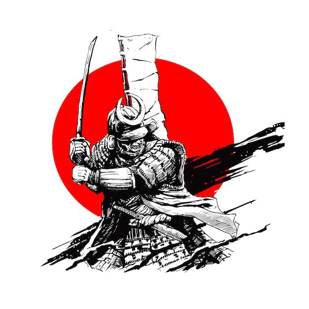 Espada de samurai Vetor Premium
