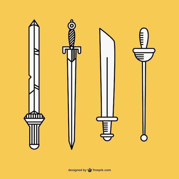 Espadas mão desenhada vector Vetor grátis