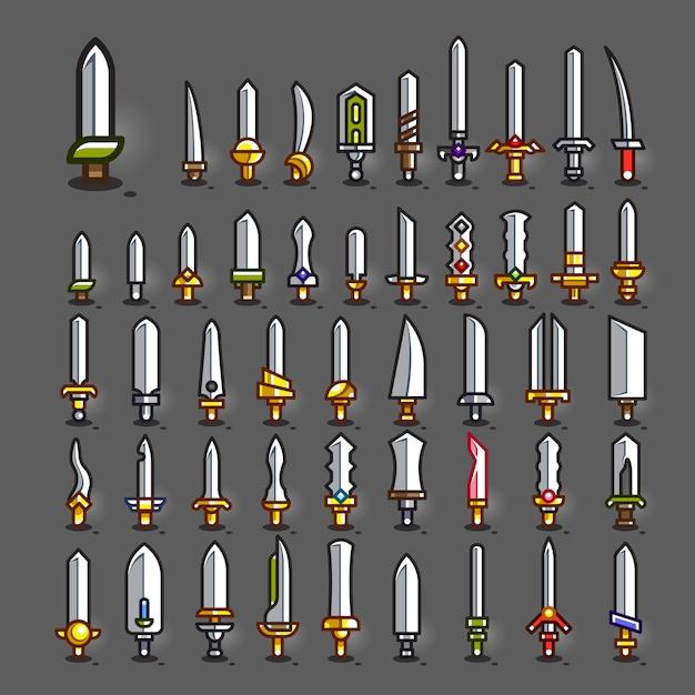 Espadas para criar videojogos Vetor Premium