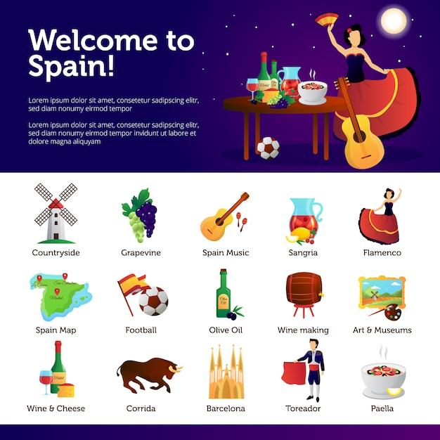 Espanha informação para turistas sobre as principais atrações culturais nacionais Vetor grátis