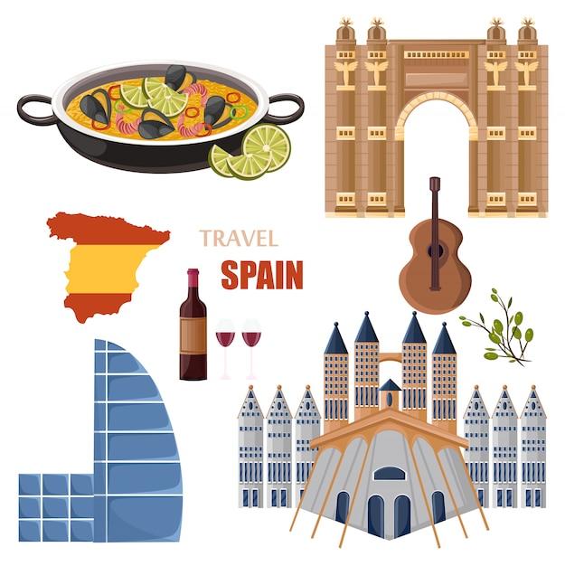Espanha viajar coleção de pontos de referência Vetor Premium