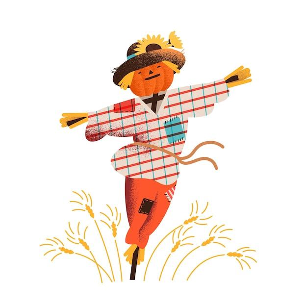 Espantalho de palha sorridente vestido com roupas velhas e chapéu em pé no campo com o cultivo de safras. Vetor Premium