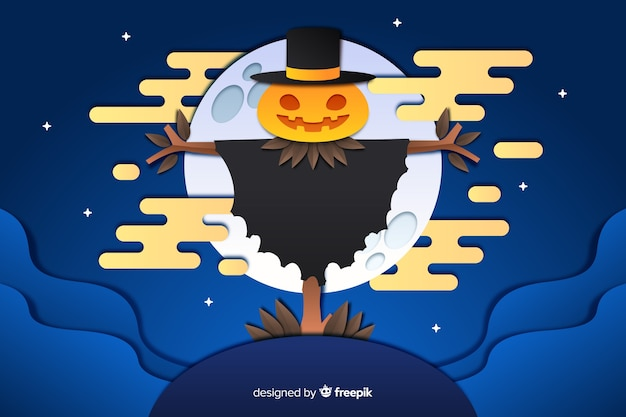 Espantalho em um fundo de lua cheia de halloween Vetor grátis