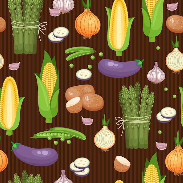 Espargos de fundo sem emenda, milho e ervilhas nas listras marrons. ilustração vetorial Vetor grátis