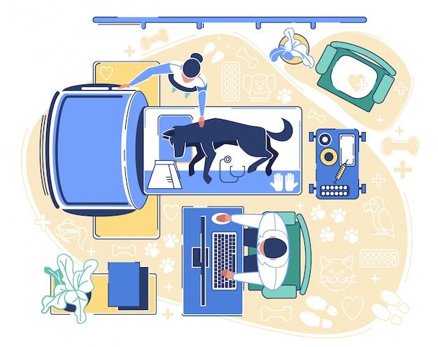 Especialista em tomografia canina em clínica Vetor Premium